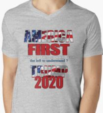 AMERICA FIRST Trump 2020 V-Neck T-Shirt