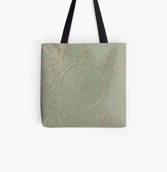 Sage Green Tin Tile All Over Print Tote Bag