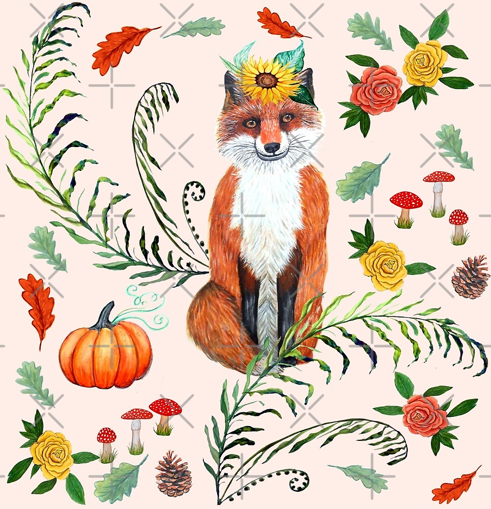 FOX and sunflowers, pumpkin and autumn leaves, FALL THANKFUL by MagentaRose