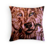 Wolf-The Blue Eyed Crooner Throw Pillow