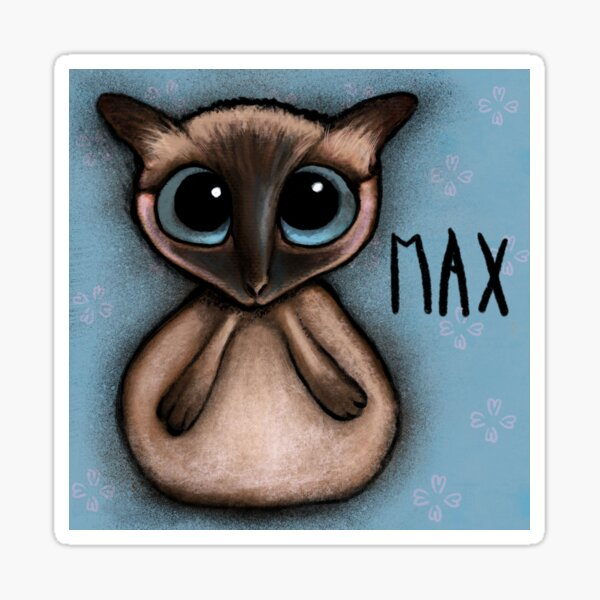 Siamese cat with big blue eyes by Margherita Arrighi Sticker