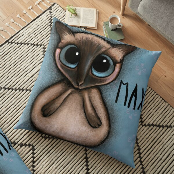 Siamese cat with big blue eyes by Margherita Arrighi Floor Pillow