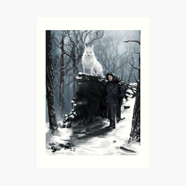 Hombre y Lobo Lámina artística