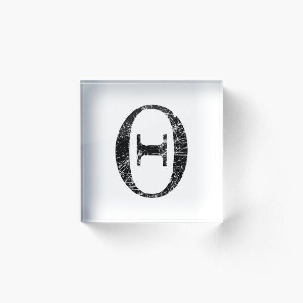 Theta Greek Letter Symbol Grunge Style Acrylic Block