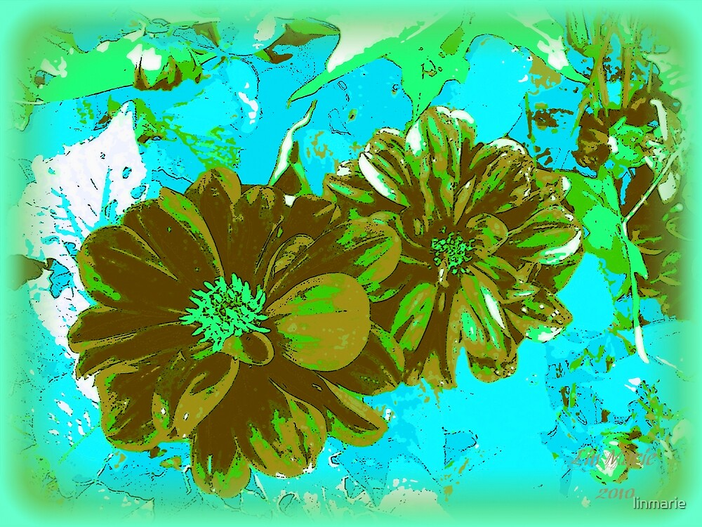 Vintage Floral- Aqua and Amber by linmarie