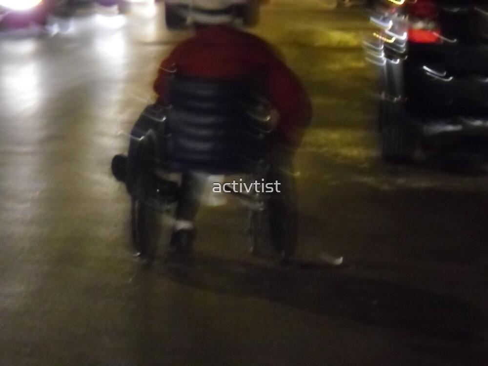 TEMP 19 woman in wheel chair in street panhandling by activtist