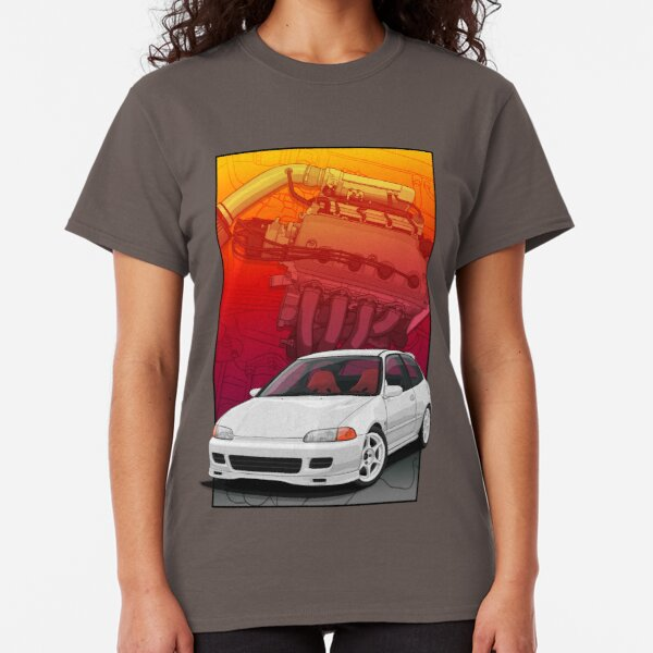 Copy of Civic EG hatch with a D16 backdrop Ver3 Classic T-Shirt