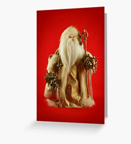 Golden Santa Greeting Card