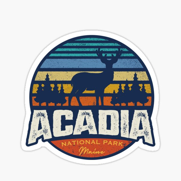 Acadia National Park Maine - Vintage Mountain Moose Deer Graphic Outdoor Apparel  Sticker