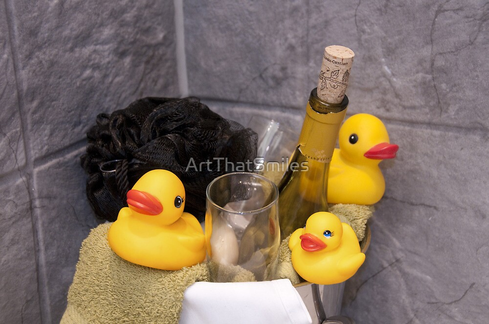 """Bubbles and Suds"" - rubber duckies in champagne bucket by ArtThatSmiles"