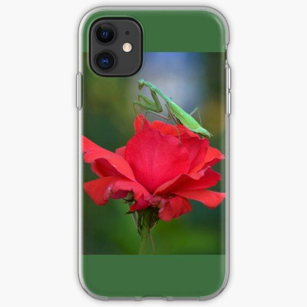 Praying Mantis on Coral Rose iPhone Soft Case