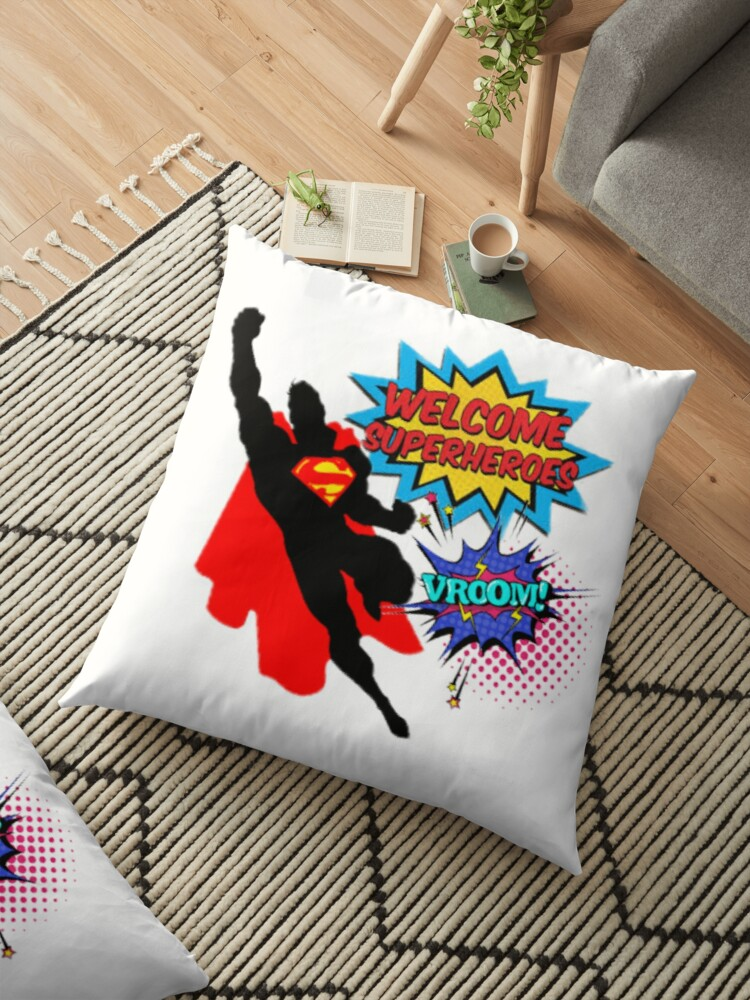 100/% Cotton Curtains Superman Fabric Large Children/'s Design Cushions