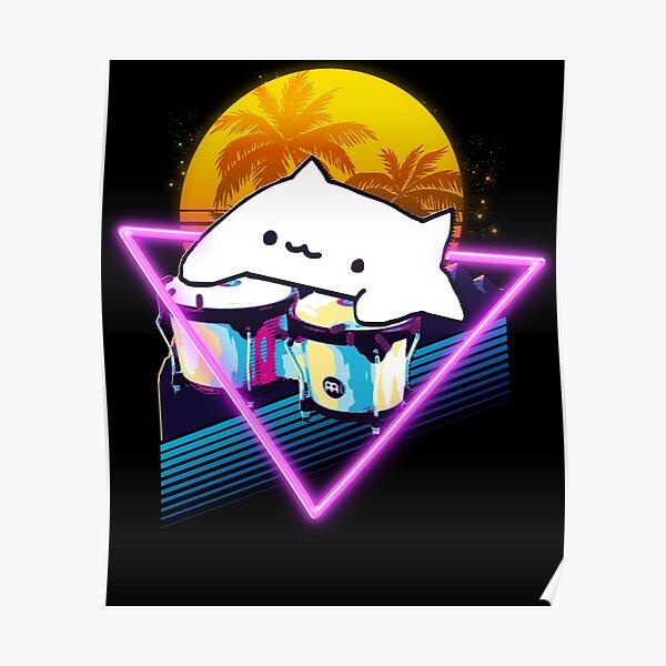 Bongo Cat Retro 80s  Poster
