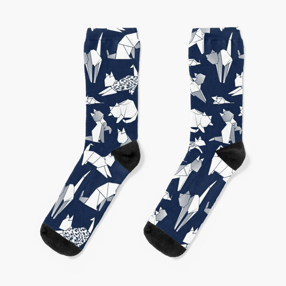 Origami kitten friends // blue navy background paper cats Socks