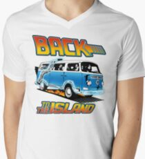 Back to the Island Lost And Back to the Future Spoof Men's V-Neck T-Shirt