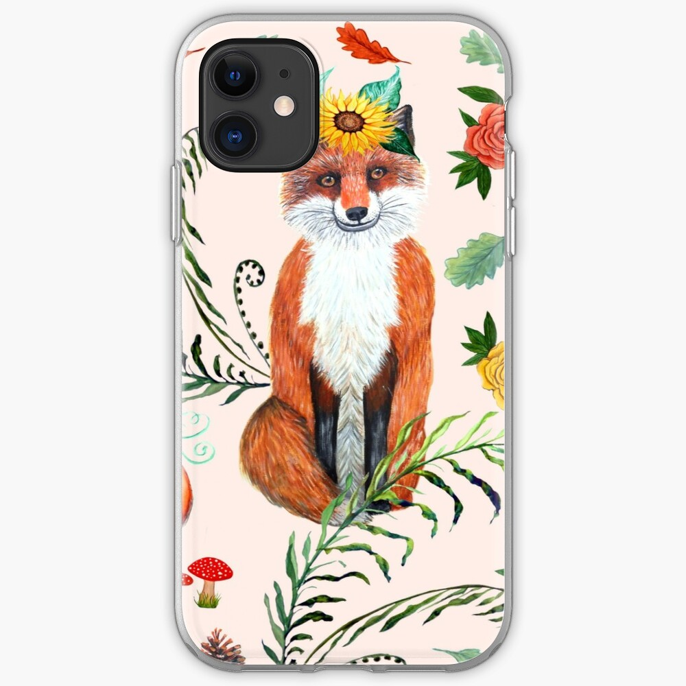 FOX and sunflowers, pumpkin and autumn leaves, FALL THANKFUL iPhone Case & Cover