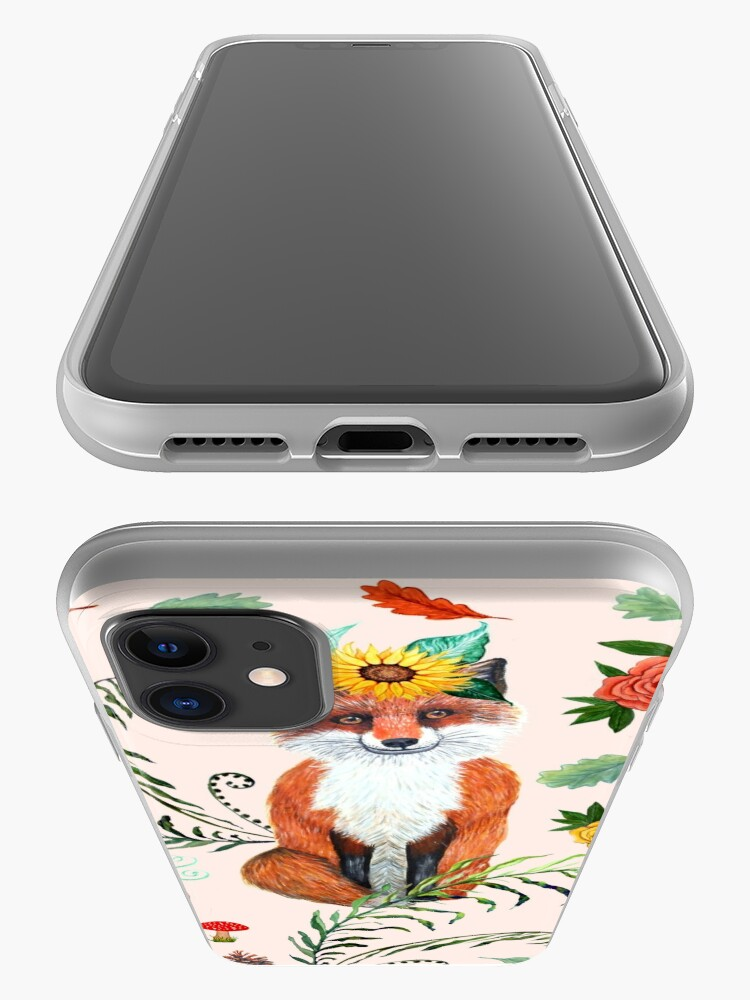 Alternate view of FOX and sunflowers, pumpkin and autumn leaves, FALL THANKFUL iPhone Case & Cover