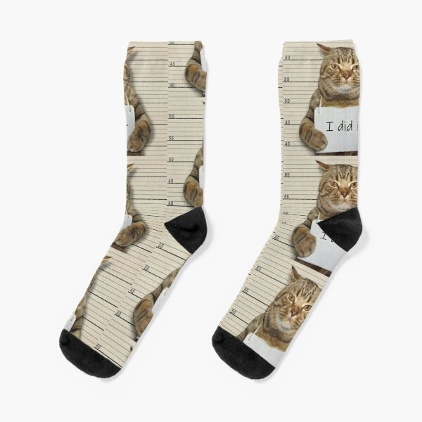 Cat T-shirts and Other Cat Gear and Apparel for Cat Lovers - Criminal Cats - I Did It Socks
