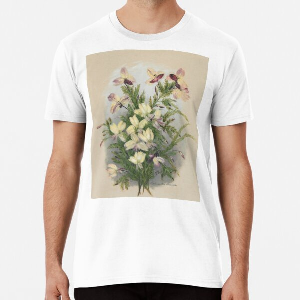 Western Australia wild flower Yellow Leschenaultia - Lechenaultia linarioides State Library of Western Australia Premium T-Shirt