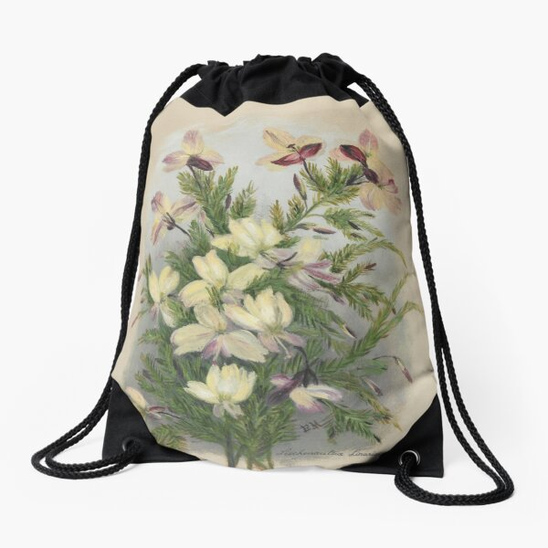 Western Australia wild flower Yellow Leschenaultia - Lechenaultia linarioides State Library of Western Australia Drawstring Bag