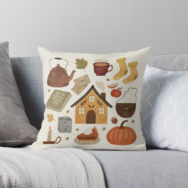 Autumn Cottage Days Throw Pillow