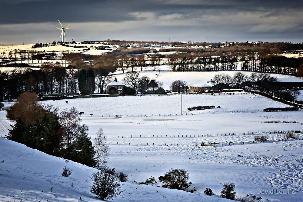 Winter Fields, Farm's and Turbines. UK by David Lewins