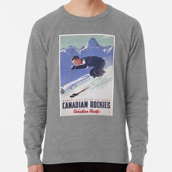 Canada, Canadian Rockies, Vintage Ski Poster Lightweight Sweatshirt