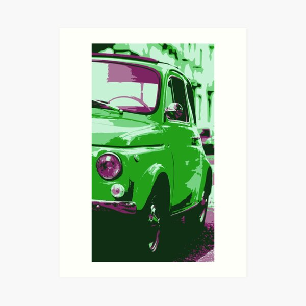 Classic FIAT 500 Abarth - Cute Little Italian Retro City Car Art Print