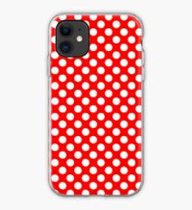 White on Red Polka Dots iPhone Case