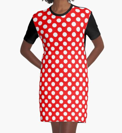 White on Red Polka Dots Graphic T-Shirt Dress