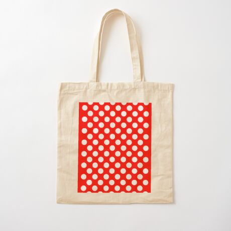 White on Red Polka Dots Cotton Tote Bag