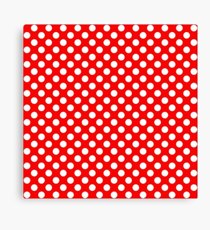 White on Red Polka Dots Canvas Print