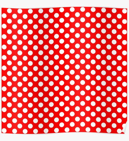 White on Red Polka Dots Poster