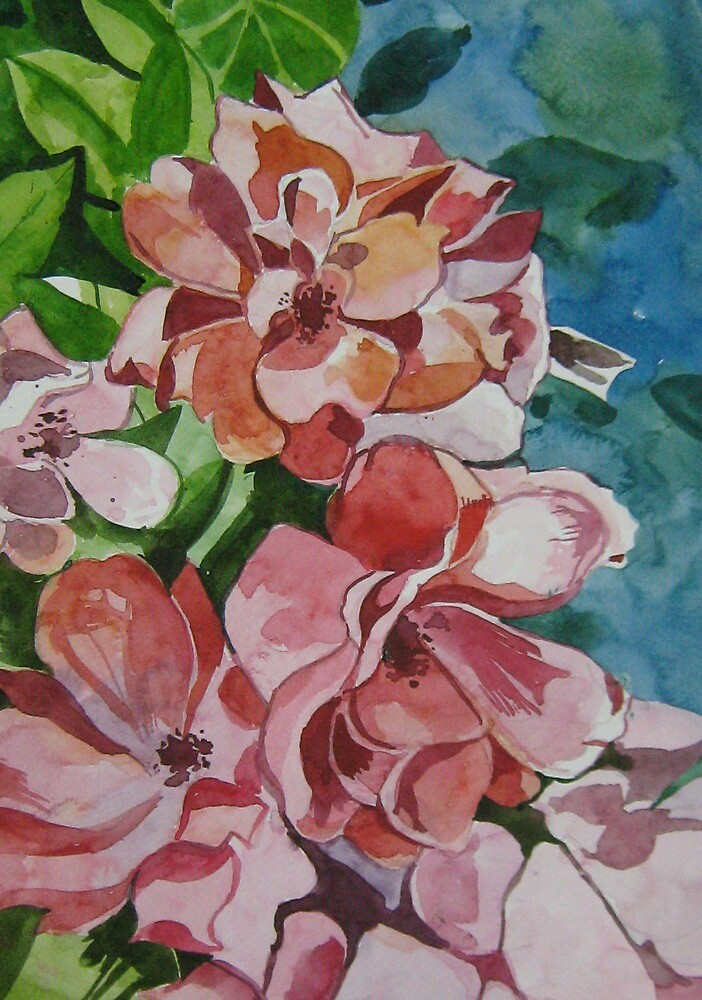 Little flowers - water colour painting by Akhilkrishna Jayanth