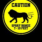 Farting Lion Caution Spray Area Warning Sign von mjacobp
