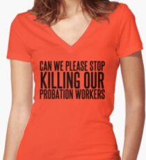 He's Dead Women's Fitted V-Neck T-Shirt