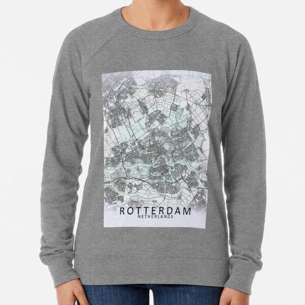 Rotterdam, Netherlands, White, City, Map Lightweight Sweatshirt