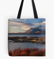 Cuillin Mountains from Tarskavaig, Isle of Skye, Scotland. Tote Bag
