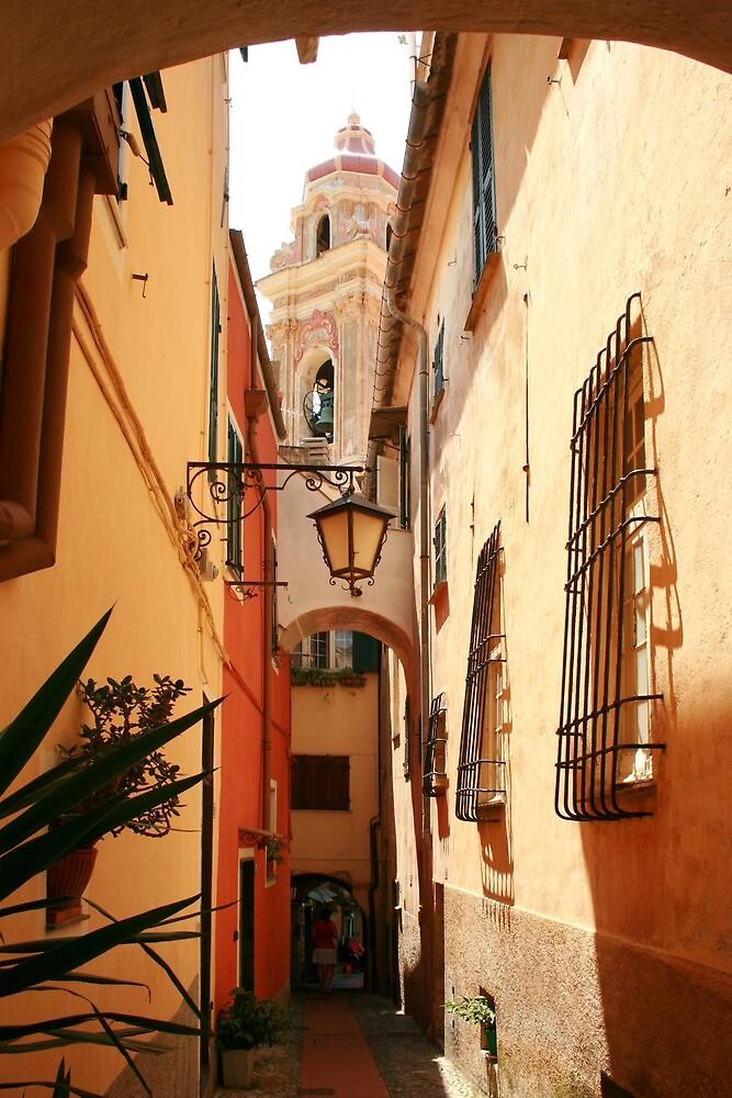 Narrow street leading to the church Cervo Italy by Paul Pasco