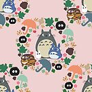 Totoro-Kranz-Muster einfach im Rosa von CanisPicta