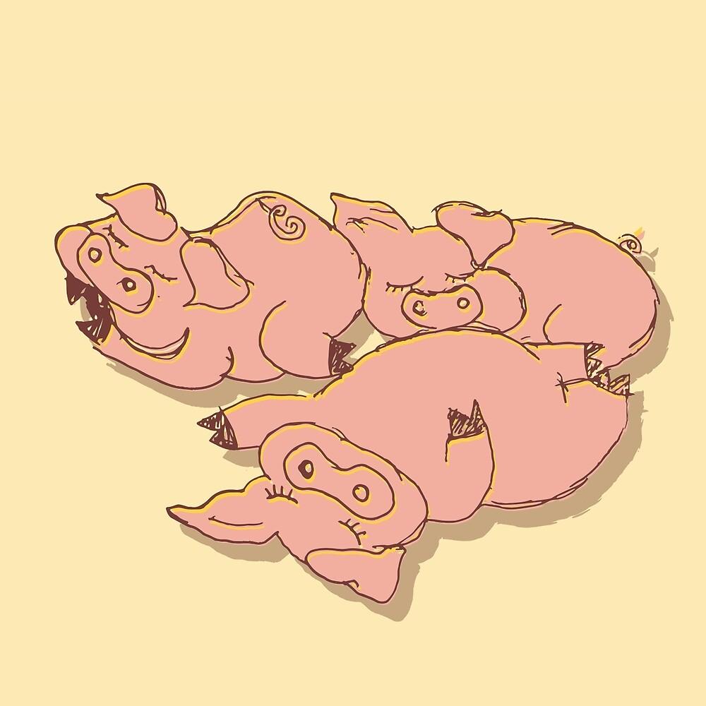 Piggies sunbath by cslagos