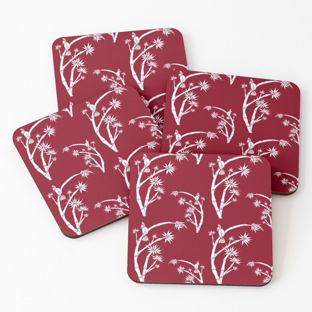 Oriental bamboo bird Coasters (Set of 4)