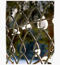 Mesh fence with snow Poster