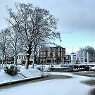 Winter in Oosterwolde, Bridge and Stream by ienemien