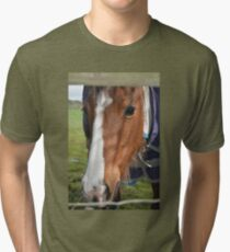 LOOKING THROUGH THE FENCE Tri-blend T-Shirt