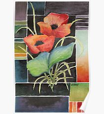 TWO POPPIES - AQUAREL Poster