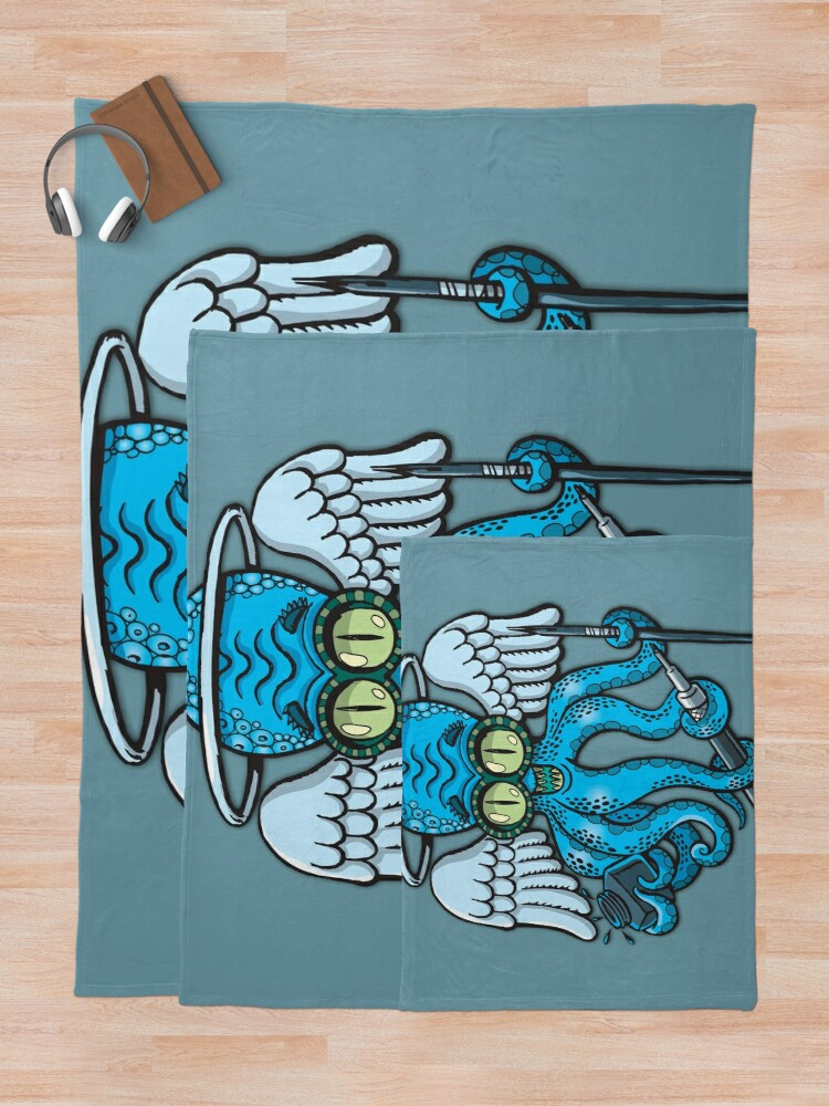 Alternate view of Japanese octopus tattoo artist Throw Blanket