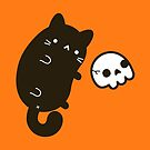 Cute cat with skull by peppermintpopuk