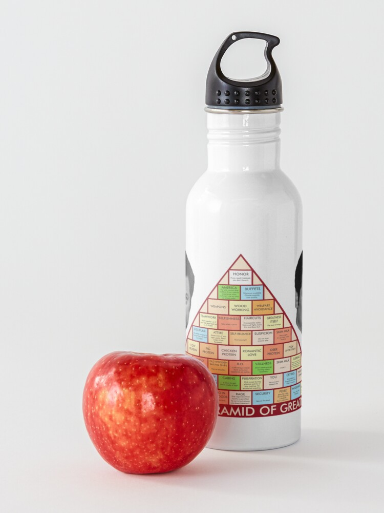 Alternate view of Ron Swanson's Pyramid Of Greatness Water Bottle