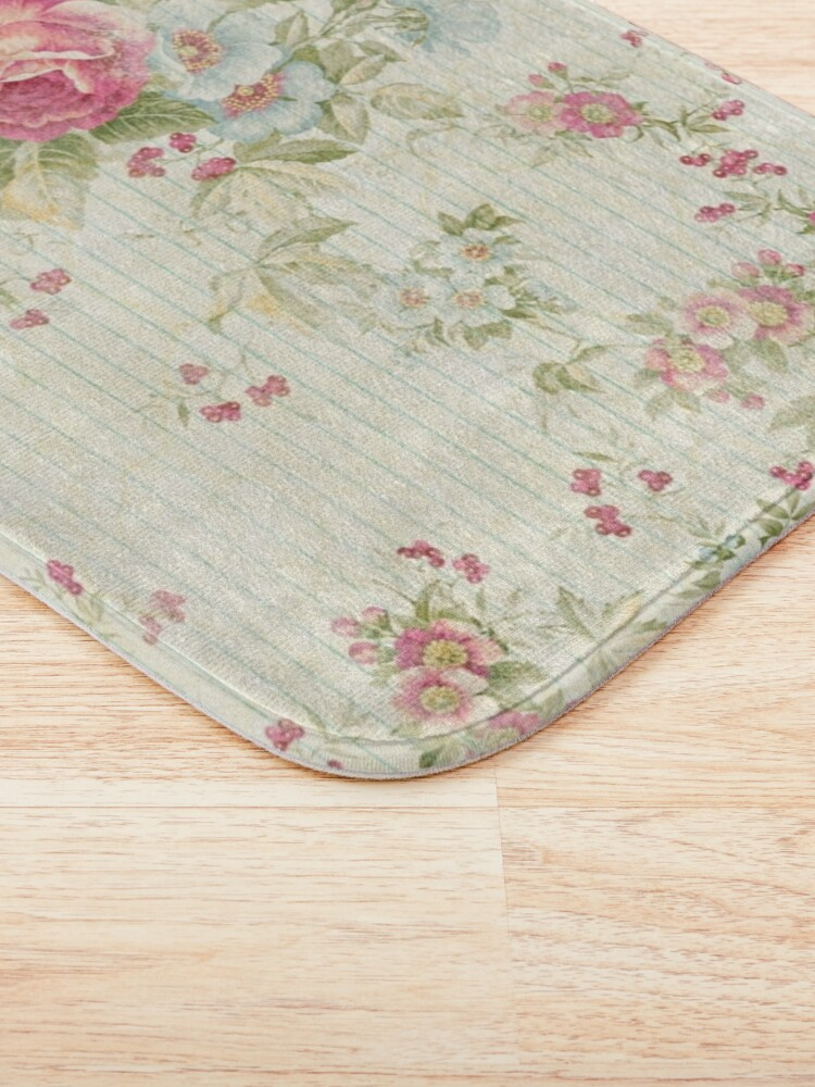 Alternate view of Shabby chic grunge pink floral pattern Bath Mat